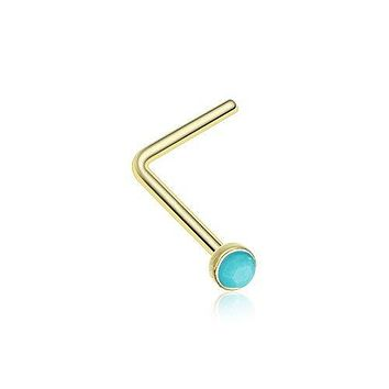 Turquoise Stone L-Shaped Nose Ring