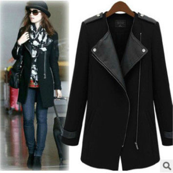 Autumn Winter Women Slim Zipper Outerwear Jacket Coat Windbreaker a13036