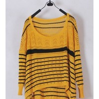 Women Euro Style Autumn Winter Long Sleeve Loose Yellow Knitting Sweater One Size@WH0136y $9.99 only in eFexcity.com.