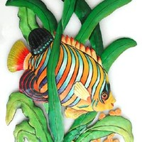 Hand Painted Tropical Fish Art - Regal Angelfish Metal Wall Decor - 19 1/2""