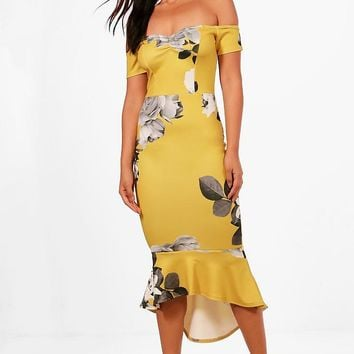 Vi Floral Off the Shuolder Frill Hem Midi Dress | Boohoo