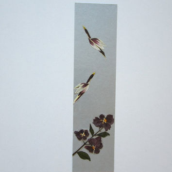 "Handmade unique bookmark ""Flight control to the task"" - Decorated with dried pressed flowers and herbs - Original art collage."