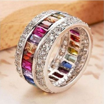 ESBONG 9.6ct Size 6-10 amazing Princess 925 silver cut Ruby Emerald Sapphire & Topaz Multicolor Gemstone Engagement Ring