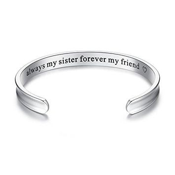 AUGUAU 'Always my sister forever my friend' Grooved Cuff Bangle Bracelet, Jewelry Gifts for Sister, Friendship