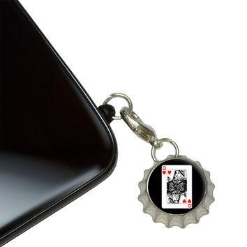 Playing Cards Queen of Hearts Mobile Bottlecap Phone Charm