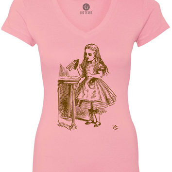 Alice in Wonderland - Drink Me (Brown) Women's Short-Sleeve V-Neck T-Shirt