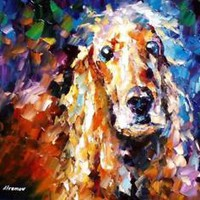 "DOG 5 — PALETTE KNIFE Oil Painting On Canvas By Leonid Afremov SIZE: 72""x48"""