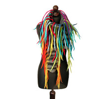 Felted scarf felted collar felted necklace multicolor gray black felt dreads wool rainbow colorful scarf spring boho OOAK