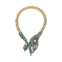 Betsey Johnson Wrapped Up Gold Peacock Frontal Necklace