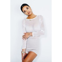 WHITE In the Mesh Striped Bodysuit - JLUX Label