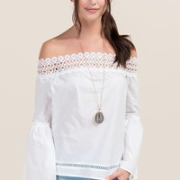 Jewel Crochet Trim Off The Shoulder Poplin Top