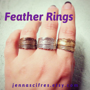 SALE - Christmas in July Feather Wrap Around Ring - Choose Bronze, Silver, or Gold