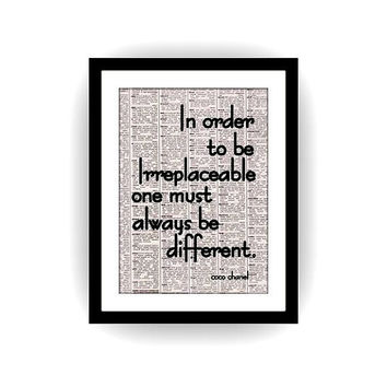 In Order to be, Coco Chanel inspirational quote, black and white, newspaper art, gift for girl, bathroom quotes, girls room decoration, deco