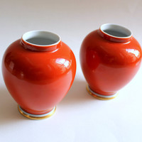 Pair of Dark Orange Porcelain Fitz & Floyd Medaillon d'Or Vases 1976
