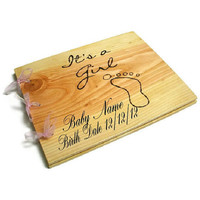 """Wooden Personalized Baby Girl Book - Shower Guest Book - Its A Girl, 10""""x12"""""""