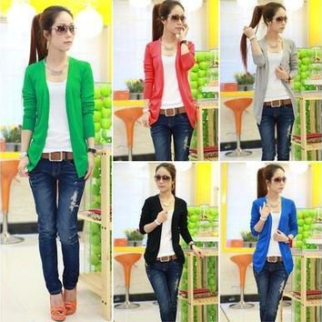 New Women Irregular Hem Long Sleeve Cardigan Knitted Sweater Candy Colors Tops hot [8833939916]