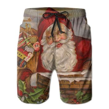 Santa Claus Post Card 1918 Cool Poster Mens Fashion Casual Beach Shorts