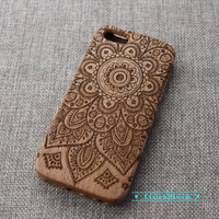 Custom flower wood iPhone case,mandala Wood iPhone 6 case,Wood iPhone 6plus case,Wood iPhone 5 case,Wood iPhone 5S case,Wood iPhone 4s case