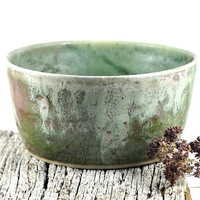 Ceramic Bowl Green Cream Red Stoneware Unique Handmade Pottery Home Cooking Fruit Bowl Salad Bowl by Dawn Whitehand