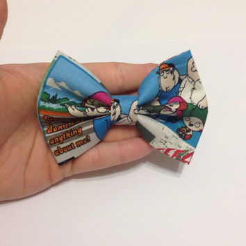 Family Guy Hair Bow / Bow Tie on Alligator Clip - 4 inches Wide