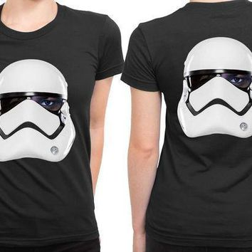 Star Wars The Force Awakens Fin As Stormtrooper 2 Sided Womens T Shirt