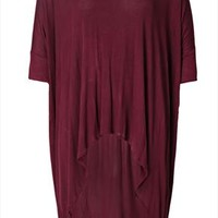 Wine Red Oversize Dipped Hem Lightweight Jersey Longline Top Plus Size 14,16,18,20,22,24,26,28,30,32