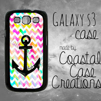 Anchor Hope and Colorful Chevron Quote Samsung Galaxy S3 Hard Plastic or Rubber Cell Phone Case Cover Original Design