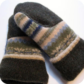 Wool Sweater Mittens.  Made from recycled wool sweaters.  Adult size.  Ready to ship.