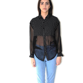 80s sheer color block blouse 1980s vintage crop top black + white mesh sleeves hipster button up blouse medium