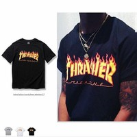 Thrasher Flame trend retro TEE leisure Hot T-shirt