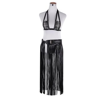 Leather Triangle Harness Top and Fringe Skirt