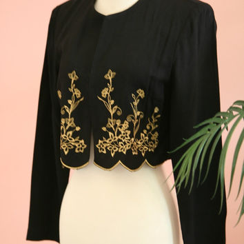 Dressy Black and Gold Embroidered Crop Jacket Formal Wear Size 6