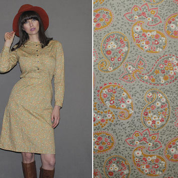 Vintage 60s PAISLEY DRESS / Muted Colors Olive, Orange / Mod, Groovy Ditsy Floral / Long Sleeve Shirt Dress / Peter Pan Collar / Mad Men / S