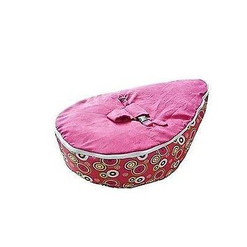 Babybooper Beanbag Soft Baby Cozy Baby Sitting Chair Nursery Pillow Safe (Booper Pink Top Multi Planet Circles)