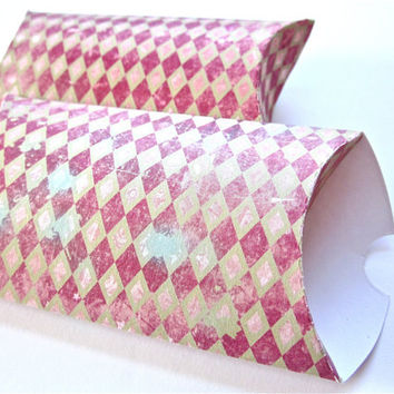 Pillow Boxes Red Diamond Harlequin Set of 12 Gift Box Packaging, Party Favor Boxes