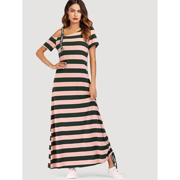 Asymmetrical Shoulder Striped Tee Dress Multicolor
