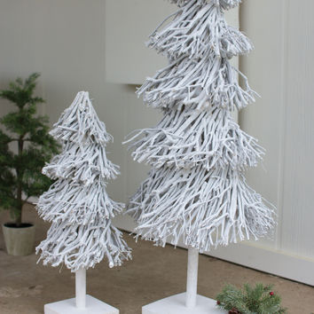 Set of 2 Root Topiaries with Wooden Base-Whitewash