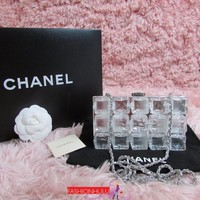 A Collector's Piece! RARE CHANEL Transparent Lucite Ice Cube Clutch Bag