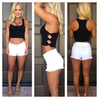 Take A Bow Crop Tank - BLACK