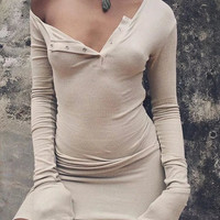 Long Sleeve Hot Sale Winter Stylish One Shoulder Design One Piece Dress [9342353412]