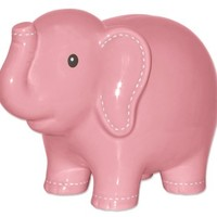 Elephant Piggy Coin Bank with Decorative Stitching