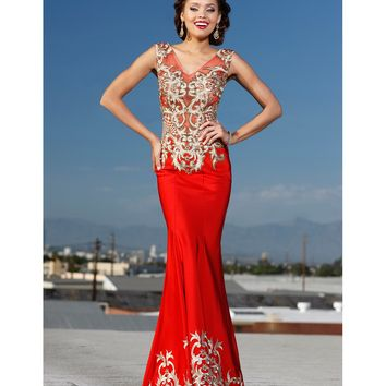 Preorder - Shail K. 3974 Red Sheer Bodice Fitted Embellished Gown 2016 Prom Dresses