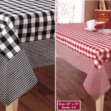 "Tablecloth Country Checkered Gingham Buffalo Red White Black 52"" x 70"" Cotton"