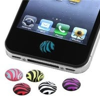 Amazon.com: INSTEN 6 Pieces Zebra Patterns Home Button Sticker for Apple® iPhone® 4S: Cell Phones & Accessories