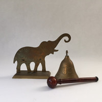 vintage brass elephant bell gong style dinner bell, modern hosting guests for dinner, boho tribal chic
