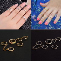 6Pieces/Set Cute Charming Gold Stack Crystal Above Knuckle Midi Ring Band Fashion Rings