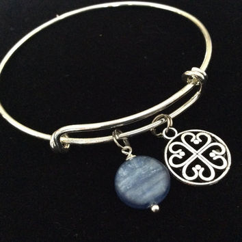 Blue Kyanite Gemstone with Celtic Hearts on a Silver Adjustable Expandable Bangle Bracelet Throat Chakra Jewelry Tranquility Calming Gift