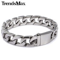 Trendsmax 13mm 316L Stainless Steel Bracelet Mens Wristband Curb Silver Color HB83