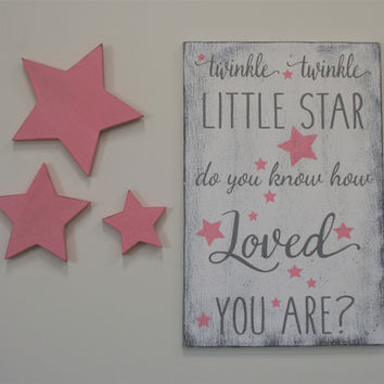 Wood Nursery Sign Twinkle Twinkle Little Star Do You Know How Loved You Are Girls Nursery Shabby Chic Nursery Vintage Nursery Baby Gift
