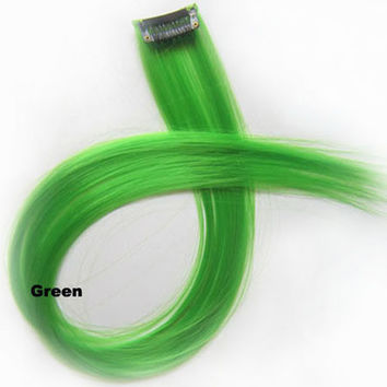 """1 pcs 22"""" Straight Hair Price,New Highlight Straight Ombre Colorful Candy Colored Colorful single Clip On In synthetic Hair Extension Hair piece Green"""